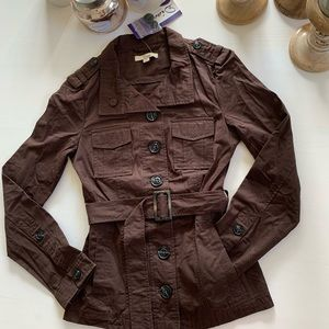 Brown Button belted utility jacket